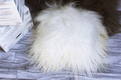 Beautiful Natural Creamy White Real Sheepskin Decorative Cushion Both Side Fur Scandinavian Style