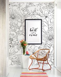 Botanical Garden Hand Drawn Flowers Accent Mural Wallpaper, Line Art Flowers, Extra Large Wall Art, Peel and Stick Wall Poster - Our botanical garden line artificial flower print is hand drawn and blends slightly monochrome inter - Mural Floral, Flower Mural, Flower Wall Decor, Art Floral, Flower Art, Flower Room, Peony Flower, Grand Art Mural, Mural Wall Art