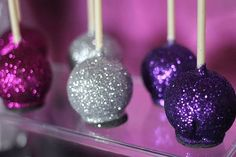 12 Shimmery Glitter Cake Pops Birthday Party Retirement Fuchsia Purple Silver Favors Sweets Table Candy Buffet Chocolate Shimmer