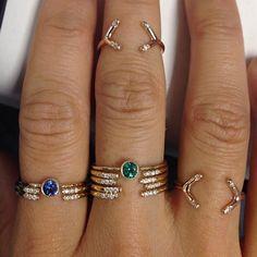 Jennie Kwon Designs / Magic Emerald and Sapphire Eye Rings