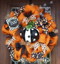 Orange Burlap Halloween Wreath with POLKA DOT PUMPKIN by decoglitz