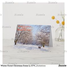 Winter Forest Christmas Scene Holiday Card