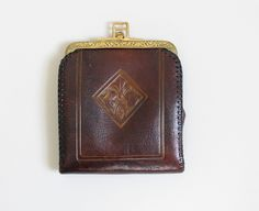 Vintage Edwardian (or Early 1920s) Tooled Leather Clutch/Wallet.