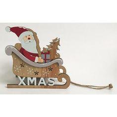 Dekorácia Woodeco Santa v saniach, cm Santa
