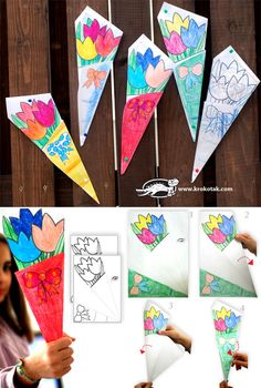 Bouquet of flowers from one sheet of paper with template by Krokotak