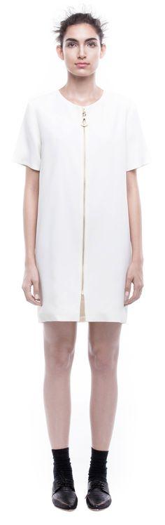 GABRIELA SAKATE   ZIPPED DRESS IN OFF WHITE CREPE
