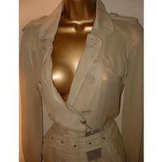 / 40 Jenni Button SILK beige trench coat - Retails for for Beige Trench Coat, Jenni, Retail, Ruffle Blouse, Silk, Button, Stuff To Buy, Tops, Women