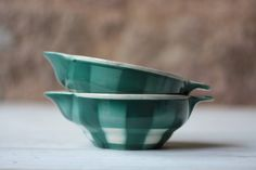 Pair of 2 Art Deco Ironstone Green Chequer Sauce Boats by FarmGateVintage on Etsy