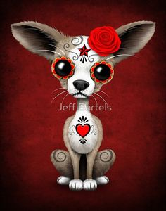 Red Day of the Dead Sugar Skull Chihuahua Puppy   Jeff Bartels