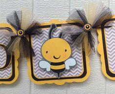 Mommy to bee banner, gender reveal banner, baby shower decoration, baby shower banner, etsy, handmade banner, nancysbannerboutique, grey chevron, yellow, bee decorations,