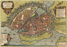 Antique Map of Hamburg by Danckwerth - Mejer.   Grundtriss der Edlen Weitberumbten Statt Hamburg. Anno 1651.  Copper engraving Size: 41 x 55cm (16 x 21.5 inches) Verso: Blank Condition: Old coloured.  From: Holsteinische Landesbeschreibung, 1651-52