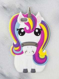 Super cute rainbow unicorn phone case made with silicon.