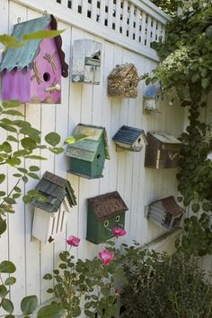 Add interest to your fence with Birdhouses !
