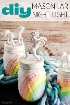 DIY mason jar night light for kids. Easy mason jar crafts for DIY home decor on a budget. Make these cute unicorn DIY mason jar night lights with decoupage rainbow napkins & unicorn figurines for homemade gifts or DIY home decor. Mason jar night lights are an easy way to add conversation worthy home decor to any room on a budget. This tutorial shows you how to make a DIY mason jar night light decorated with a unicorn and rainbow for a little girl's room. #masonjar #crafts #nightlight #homedecor