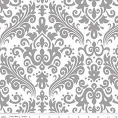 Riley Blake Designs - Hollywood - Large Damask in Gray on White