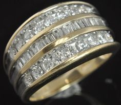 Two Tone 14K Gold Round Baguette Diamond Channel Three Row Wide Cigar Band Ring