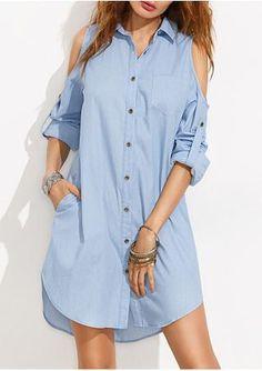 Solid Off Shoulder Tab-Sleeve Shirt Dress
