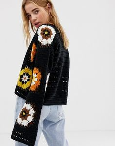 ASOS DESIGN premium patchwork crochet cardigan at ASOS. Shop this season's must haves with multiple delivery and return options (Ts&Cs apply). Gilet Crochet, Crochet Shirt, Crochet Jacket, Crochet Cardigan, Crochet Bedspread Pattern, Knit Vest Pattern, Moda Crochet, Diy Crochet, Crochet Top