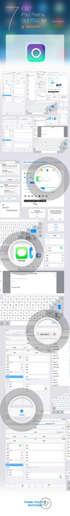 iOS 7 iPad Retina GUI PSD Kit by Chirag , via Behance. It looks beautiful laid out like this. Mobile Ui Design, Dashboard Design, App Ui Design, User Interface Design, Flat Design, Design Design, Design Thinking, Motion Design, Site Image