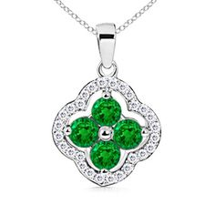 Diamond Border Emerald Clover Pendant