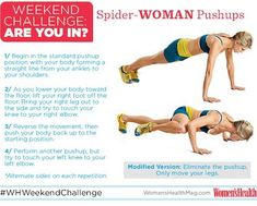 #WHWeekendChallenge SpiderWOMAN Pushups! Try to do 10 of these on Saturday and Sunday. Your goal is to move slowly and with control through each rep. So...ARE YOU IN?