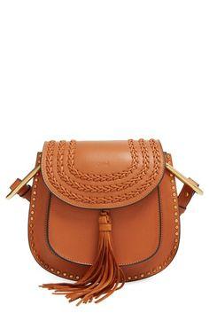 Chloe Small Hudson Studded Crossbody Bag in Caramel