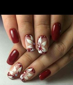 Beautiful nail art designs that are just too cute to resist. It's time to try out something new with your nail art. Cute Red Nails, Fancy Nails, Trendy Nails, Fingernail Designs, Red Nail Designs, Hair And Nails, My Nails, Bling Nails, Dark Nails