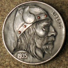 Sigmund Ericsson, Viking buffalo hobo nickel by Marcus Hunt Vikings, Hobo Nickel, Coin Art, Antique Coins, Old Money, Sculpture Art, Jewelry Collection, Buffalo, Hand Carved