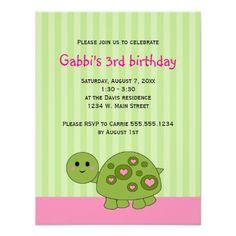 Turtle Kids Pink Green Birthday Invitations