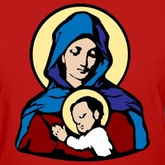 Mary and JesusWomen's T-Shirts.
