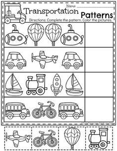 Transport-Arbeitsblätter - Travel, transport and journeys - Transport Transportation Preschool Activities, Transportation Worksheet, Preschool Math, Kindergarten Worksheets, Alphabet Worksheets, Printable Worksheets, Preschool Printables, Learning Activities, Free Printable