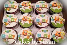 Owl Themed Baby Shower Cupcakes