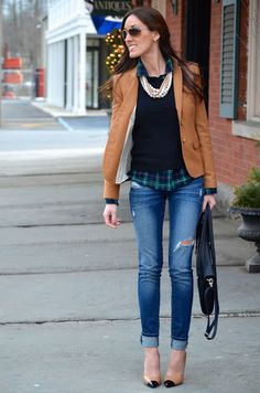 layers - button-down, sweater, blazer - with pearls over skinny jeans