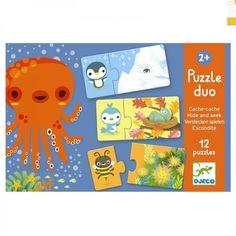 Djeco Erstes Duo Lernpuzzle Verstecken spielen Tiere für Kleinkinder ab 2 Jahren