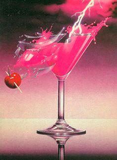 COCKTAIL & LIGHTNING #80s #art #airbrush