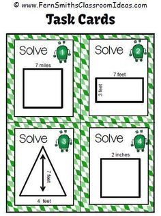 #FreebieFriday ~ FREE Area Arnie - Finding Area Four Sample Task Cards #FREE #TPT Follow me at http://www.fernsmithsclassroomideas.com