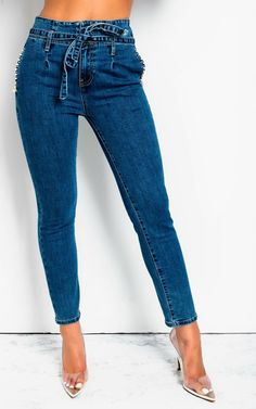 Brave Diamond Jeans Woman 2019 Spring Summer New Foot Hand Studded Drill Rhinestone High Waist Slim Small Foot Jeans Pencil Pants Girl Women's Clothing
