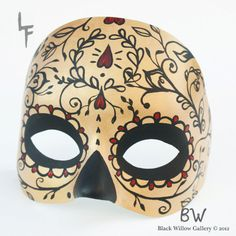Gold Sugar Skull Day of the Dead Mask by Lupe Flores available at BlackWillowGallery, $35.00