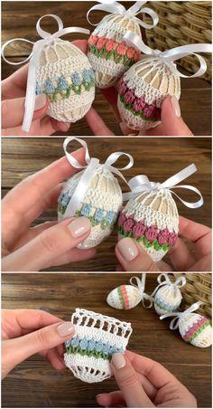 Easter Crochet Patterns, Crochet Crafts, Crochet Projects, Free Crochet, Knit Crochet, Crochet Stitches, Knitting Patterns, Crochet Ideas, Easter Eggs