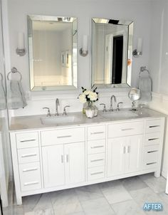Double Vanity Bathroom Mirrors New before and after Small Bathroom Makeovers Big Style Master Bathroom Vanity, Small Bathroom, Bathroom Vanity Mirrors, Bathroom With Double Vanity, Double Mirror Vanity, White Double Vanity, Bathroom Sconce Lighting, Timeless Bathroom, White Bathroom Cabinets