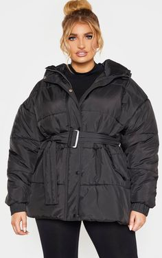 Plus Black Belted Puffer This puffer jacket will look good with any off-duty outfit doll. Featuring a black material with a belted design, wea. Curvy Women Fashion, Plus Size Fashion, Best Winter Jackets, Off Duty, Puffer Jackets, Black Belt, Plus Size Outfits, Doll Clothes, Fashion Outfits