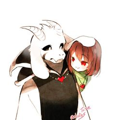 Asriel and Chara by Blue (@ShoutinS)   Twitter