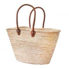 f37666b3a8 Natural Basket Handle long leather Market Bag