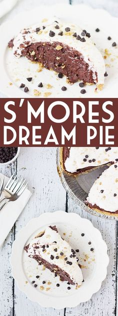 Smores Dream Pie -- This s'mores dream pie might not be the prettiest but it's definitely decadent--graham cracker pie crust, creamy chocolate fudge filling, marshmallow fluff, and a topping of crushed grahams and mini chocolate chips.   halfscratched.com #pie #recipe #dessert