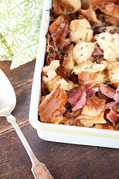 Savory bread pudding loaded with ham, onions and cheese for a perfect autumn recipe!