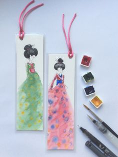 Original painting bookmarks Japanese design by MusettayMimi