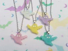 Glitter ghost necklace, Ghost necklace, Ghost pendant, Pendant necklace, Glitter, Ghost, Pastel, Kawaii, Halloween, Pastel goth, Goth, Punk