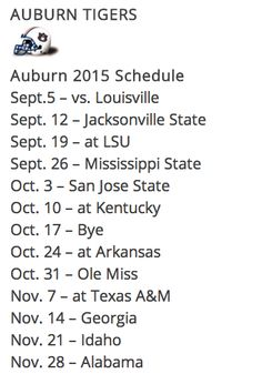 2015 Auburn Tiger Football Schedule. Start making your plans now!