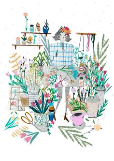 The Florist. Flower illustration. Wall art. by Amyislaillustration, $35.00, illustration, illustrator, florist, flower, flower illustration,