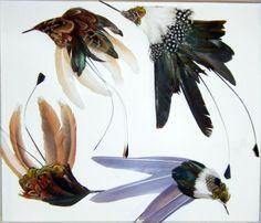 Vintage Feather Hummingbirds